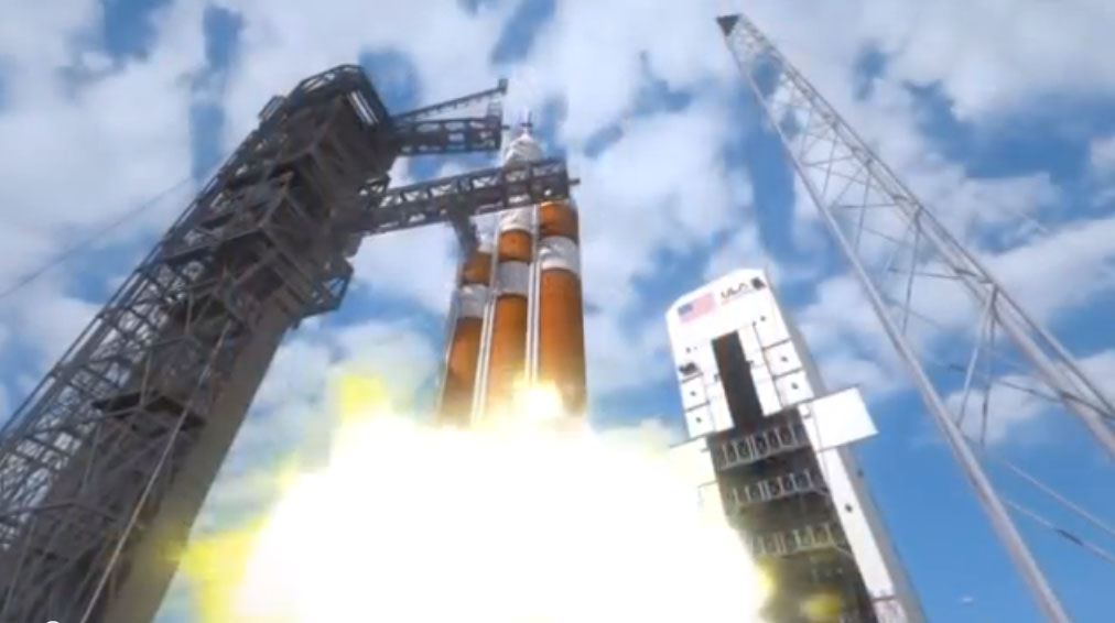 The Delta 4-Heavy rocket's three RS-68A main engines ignite at T-minus 5.5 seconds and build up thrust before the launcher is cleared for liftoff.