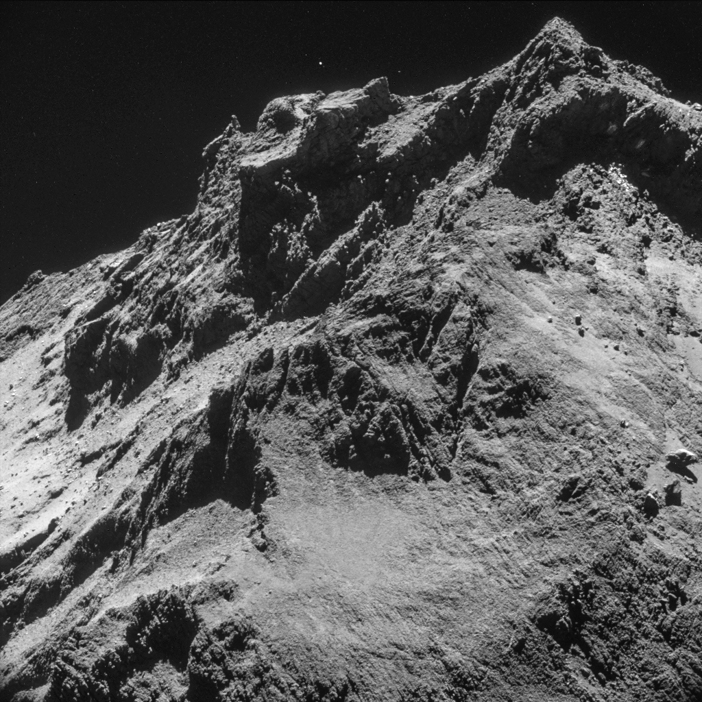 A view of comet 67P/Churyumov-Gerasimenko from Rosetta when it flew 10 kilometers away. Credit: ESA/NAVCAM
