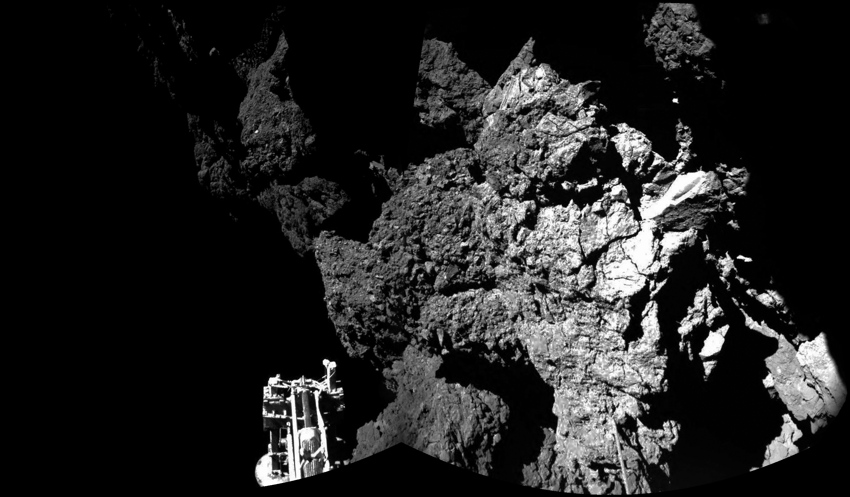 The first image from the surface of a comet! This picture from the Philae lander's CIVA camera system confirm the probe is safely on the surface of comet 67P/Churyumov-Gerasimenko. Credit: ESA/Rosetta/Philae/CIVA