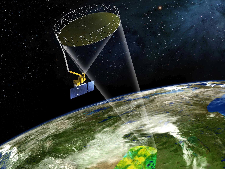 Artist's concept of the SMAP spacecraft in orbit. Credit: NASA/JPL-Caltech