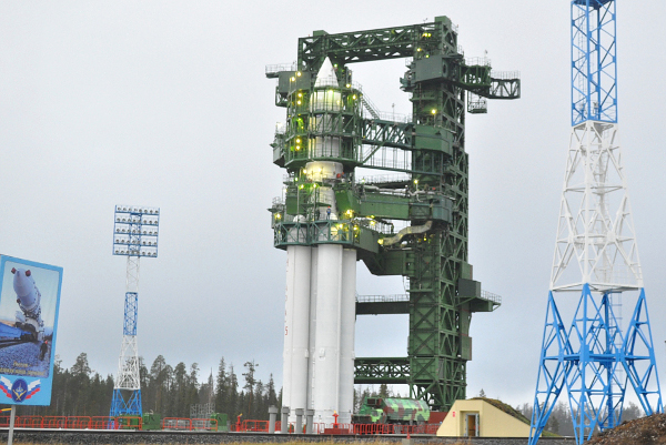 The first Angara 5 rocket sits on its launch pad at the Plesetsk Cosmodrome in northern Russia. Credit: Spetsstroy.ru