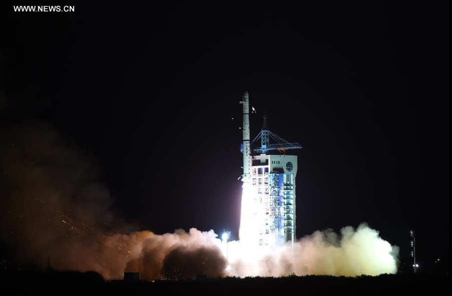 A Long March 4C rocket lifts off from the Jiuquan satellite launching center at 1933 GMT (2:33 p.m. EST) on Wednesday. Credit: Xinhua