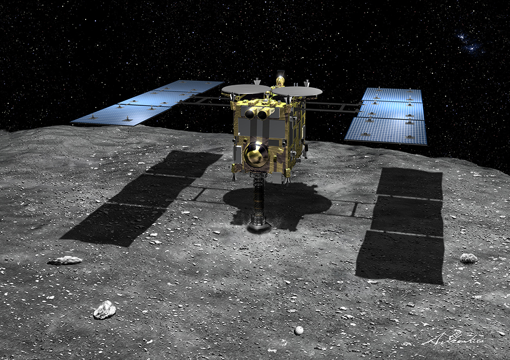 Artist's concept of Hayabusa 2 collecting samples from asteroid 1999 JU3. Credit: JAXA