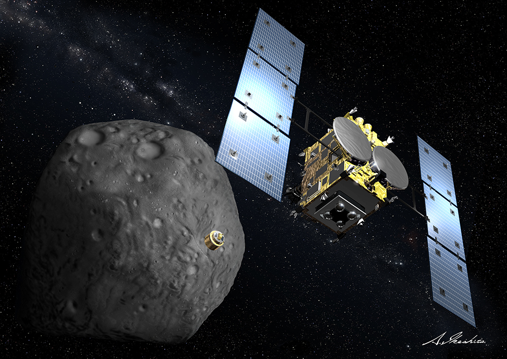Artist's concept of the Hayabusa 2 spacecraft at asteroid 1999 JU3. Credit: JAXA
