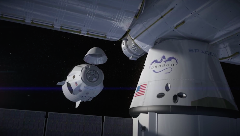Artist's concept of a Crew Dragon spacecraft on final approach to the International Space Station. A SpaceX cargo craft is also seen in this animation. Credit: SpaceX