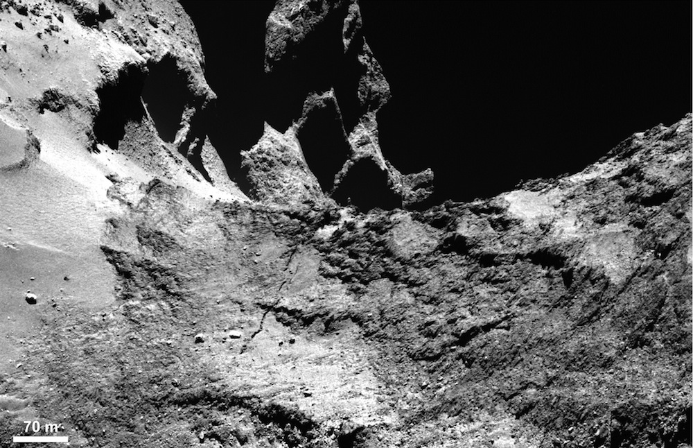 This image from Rosetta's OSIRIS narrow-angle camera shows part of a large fracture in the neck of comet 67P/Churyumov-Gerasimenko.