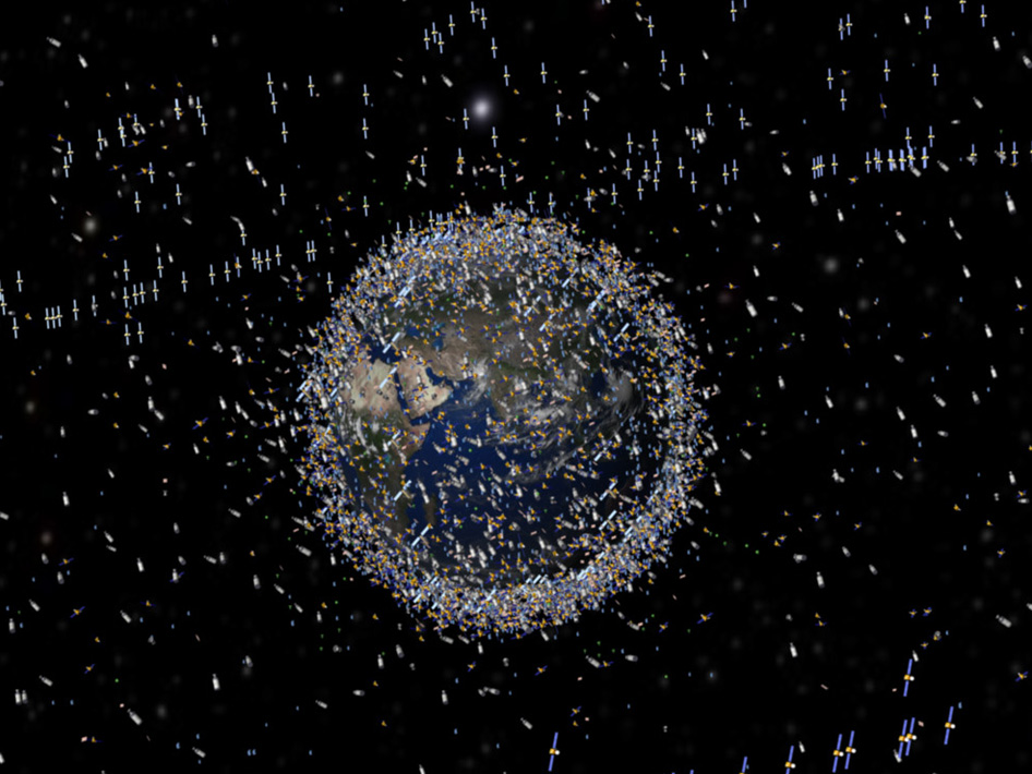 Artist's concept of the distribution of space debris in Earth orbit based on actual density data. The sizes of each object are exaggerated to make them visible. Credit: European Space Agency