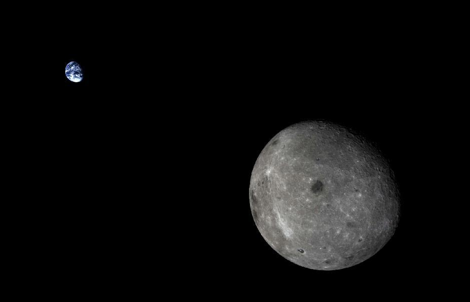 China's lunar test probe and returned this stunning view of the Earth and the far side of the moon in October. Credit: Xinhua/SASTIND