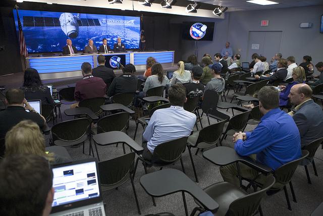 NASA, SpaceX and U.S. Air Force officials speak to media representatives Monday. Credit: NASA/Kim Shiflett