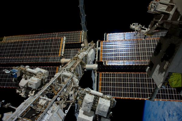 A view of the International Space Station's main power truss. Credit: ESA/NASA/Samantha Cristoforetti
