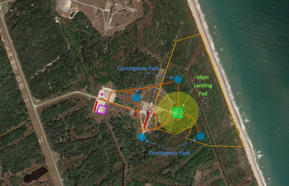 Diagram of SpaceX's planned development of a landing facility at Launch Complex 13. Credit: Gator Engineering and Aquifer Restoration Inc.