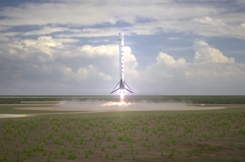Artist's concept of a Falcon rocket stage on final descent to a vertical propulsive landing as envisioned by SpaceX. Credit: SpaceX