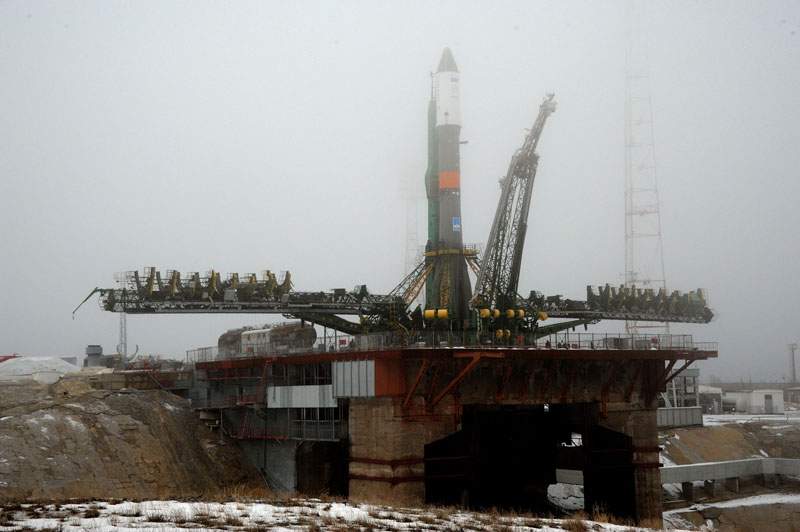 A Soyuz-U rocket sits on a launch pad at the Baikonur Cosmodrome for launch Tuesday with fresh supplies for the International Space Station. Credit: Energia