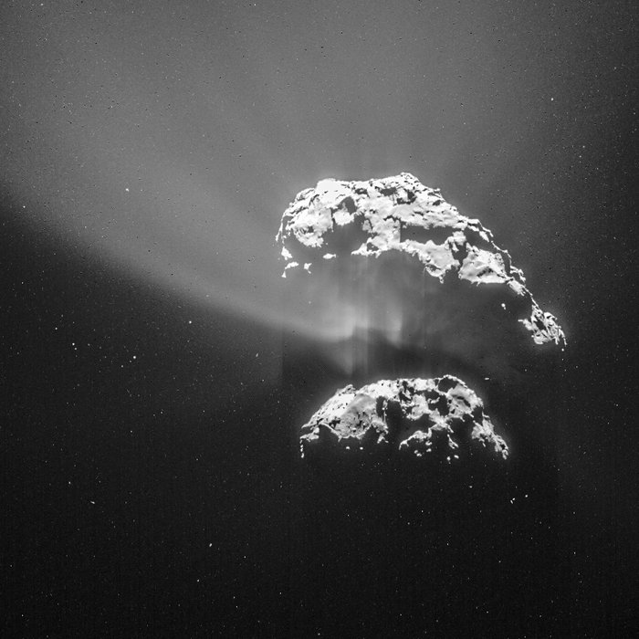 A single-frame image of comet 67P/Churyumov-Gerasimenko from Rosetta's navigation camera taken Feb. 9 at a range of 105 km. Credit: ESA/Rosetta/NAVCAM