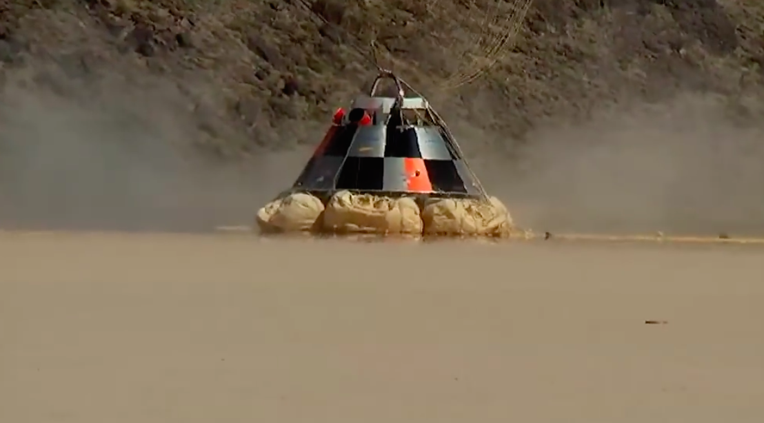 A mock-up of Boeing's CST-100 crew capsule during landing tests. Credit: NASA