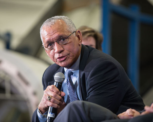 NASA Administrator Charlie Bolden speaks to reporters during a Jan. 26 press conference at the Johnson Space Center in Houston. Credit: NASA/Robert Markowitz