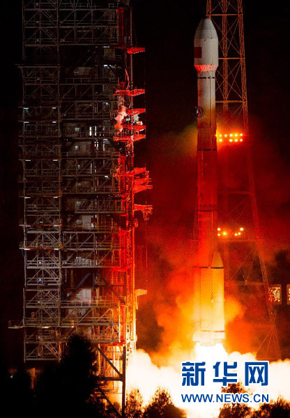 A Long March 3C rocket lifted off at 1352 GMT (9:52 a.m. EDT; 9:52 p.m. Beijing time) Monday. Credit: Xinhua
