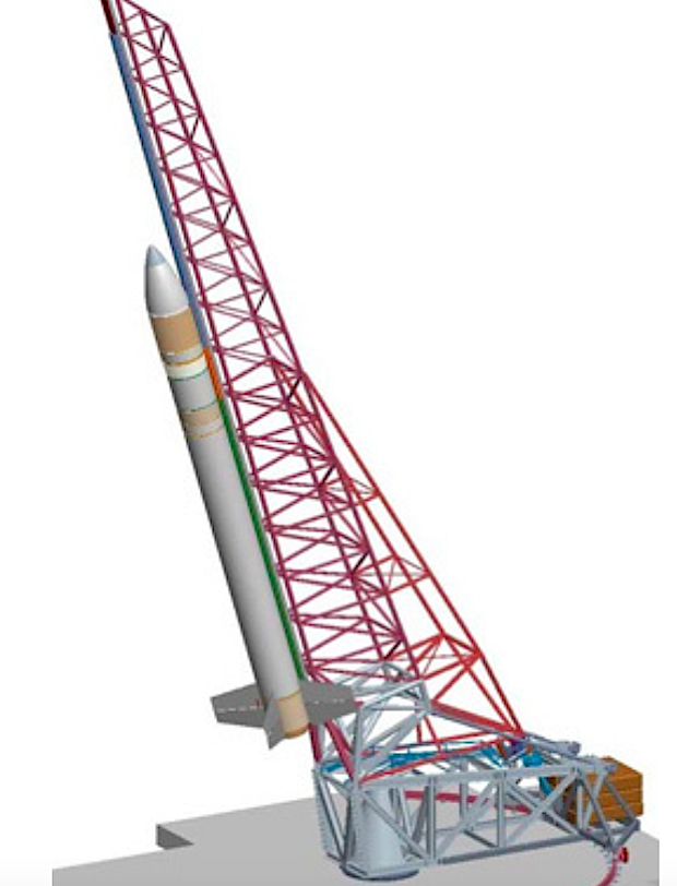 Diagram of the Super Strypi launcher and rail system. Credit: Aerojet Rocketdyne