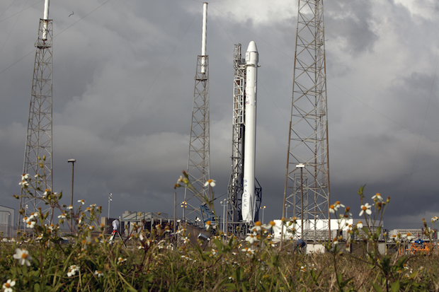 File photo of a Falcon 9 rocket and Dragon spacecraft on the launch pad at Cape Canaveral before a liftoff in April 2014. Credit: NASA/Glenn Benson