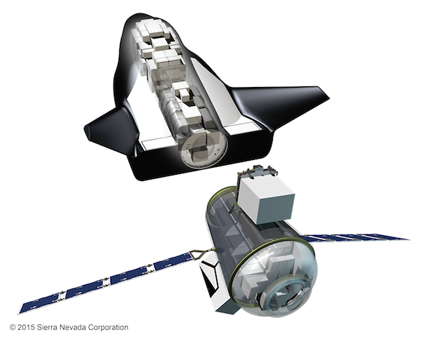 The Dream Chaser's cargo version will include a rear-mounted module to carry pressurized and unpressurized cargo. Credit: Sierra Nevada Corp.