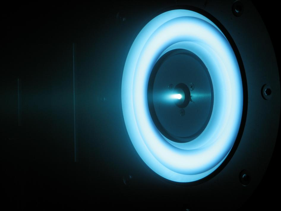 This image shows a cutting edge solar-electric propulsion thruster in development at NASA's Jet Propulsion Laboratory. Credit: NASA/JPL-Caltech