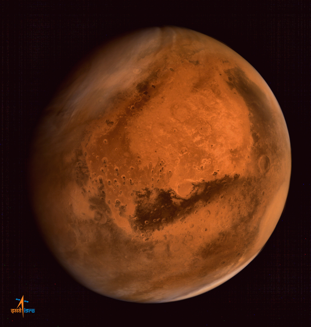 India's Mars Orbiter Mission captured this image of the red planet soon after arriving in September 2014. Credit: ISRO