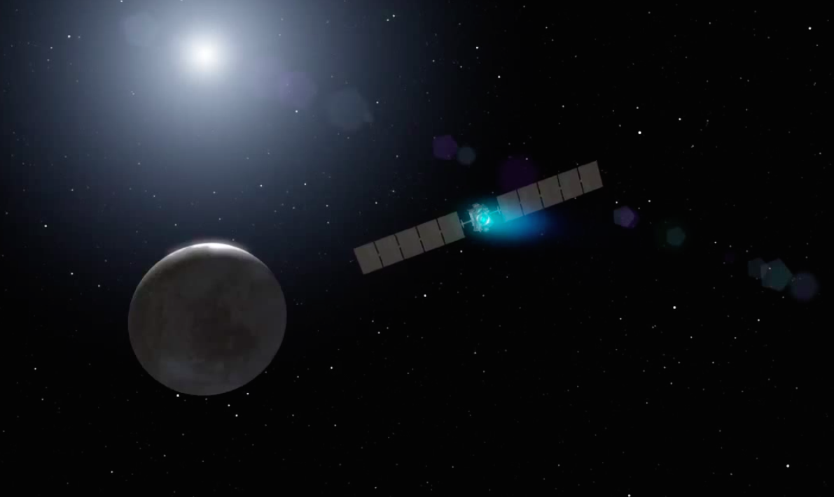 Artist's concept of the Dawn spacecraft on approach to Ceres. Credit: NASA/JPL-Caltech