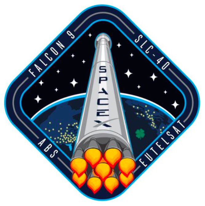 The mission patch for the Falcon 9 rocket's 16th flight with ABS 3A and Eutelsat 115 West B. Credit: SpaceX