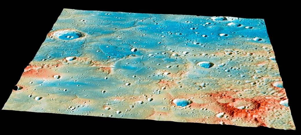 "Messenger was predicted to impact near the center of this region on Mercury, located at 54.4 degrees north latitude and 210.1 degrees east longitude near the ""Shakespeare"" impact basin. This image includes data from Messenger's dual imaging system and laser altimeter, with red colors representing higher elevations. Credit: NASA/Johns Hopkins University Applied Physics Laboratory/Carnegie Institution of Washington"
