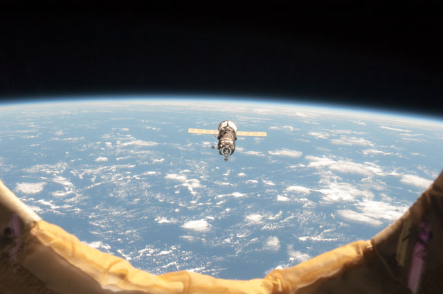 File photo of a Russian Progress supply ship during rendezvous with the International Space Station. Credit: NASA