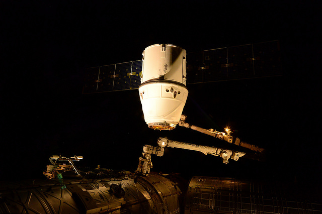 SpaceX's Dragon spacecraft arrives at the International Space Station on April 17 for its sixth operational cargo delivery. Credit: ESA/NASA