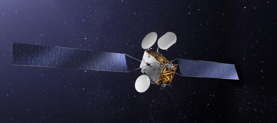 Artist's concept of the TurkmenAlem52E/MonacoSat satellite. Credit: Thales Alenia Space