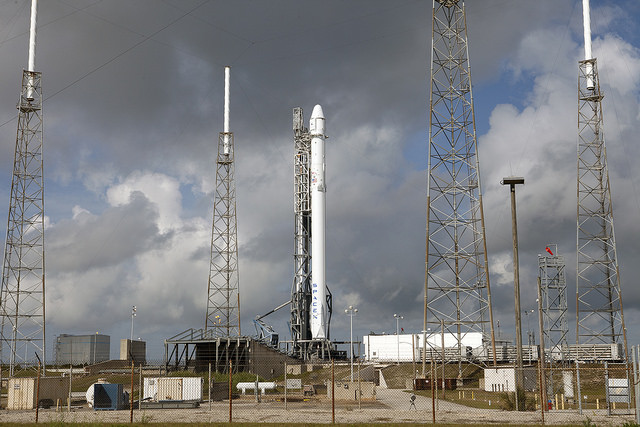 SpaceX's Falcon 9 rocket awaits Monday's launch attempt. Credit: NASA/Kim Shiflett