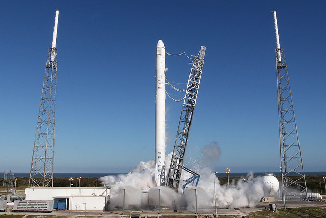 File photo of a static fire test before a previous Falcon 9 launch. Credit: SpaceX