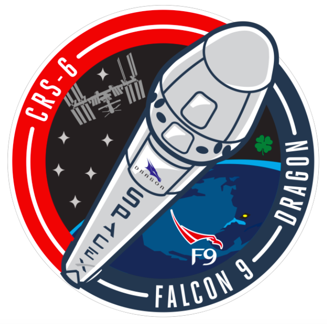 The mission patch for SpaceX's sixth operational cargo mission to the International Space Station. Credit: SpaceX
