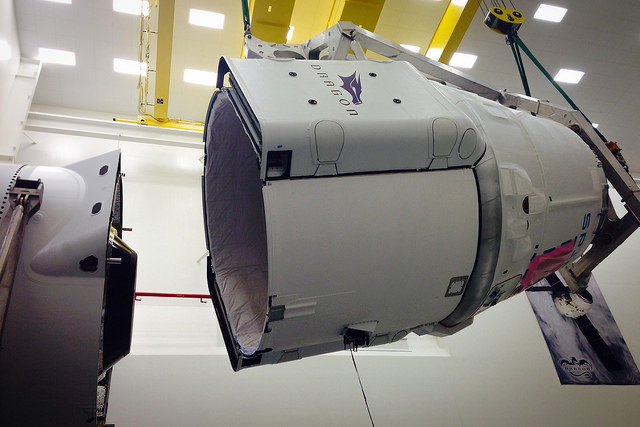SpaceX's Dragon capsule is prepared for launch Monday. Credit: SpaceX