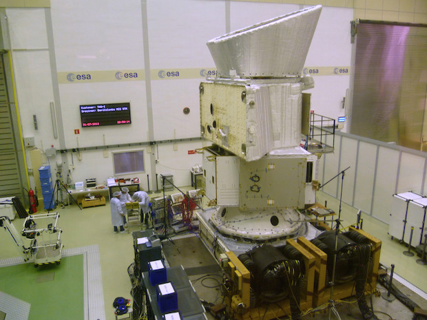 A mock-up of the BepiColombo composite spacecraft in launch configuration undergoes shaker testing in July 2012. Credit: ESA