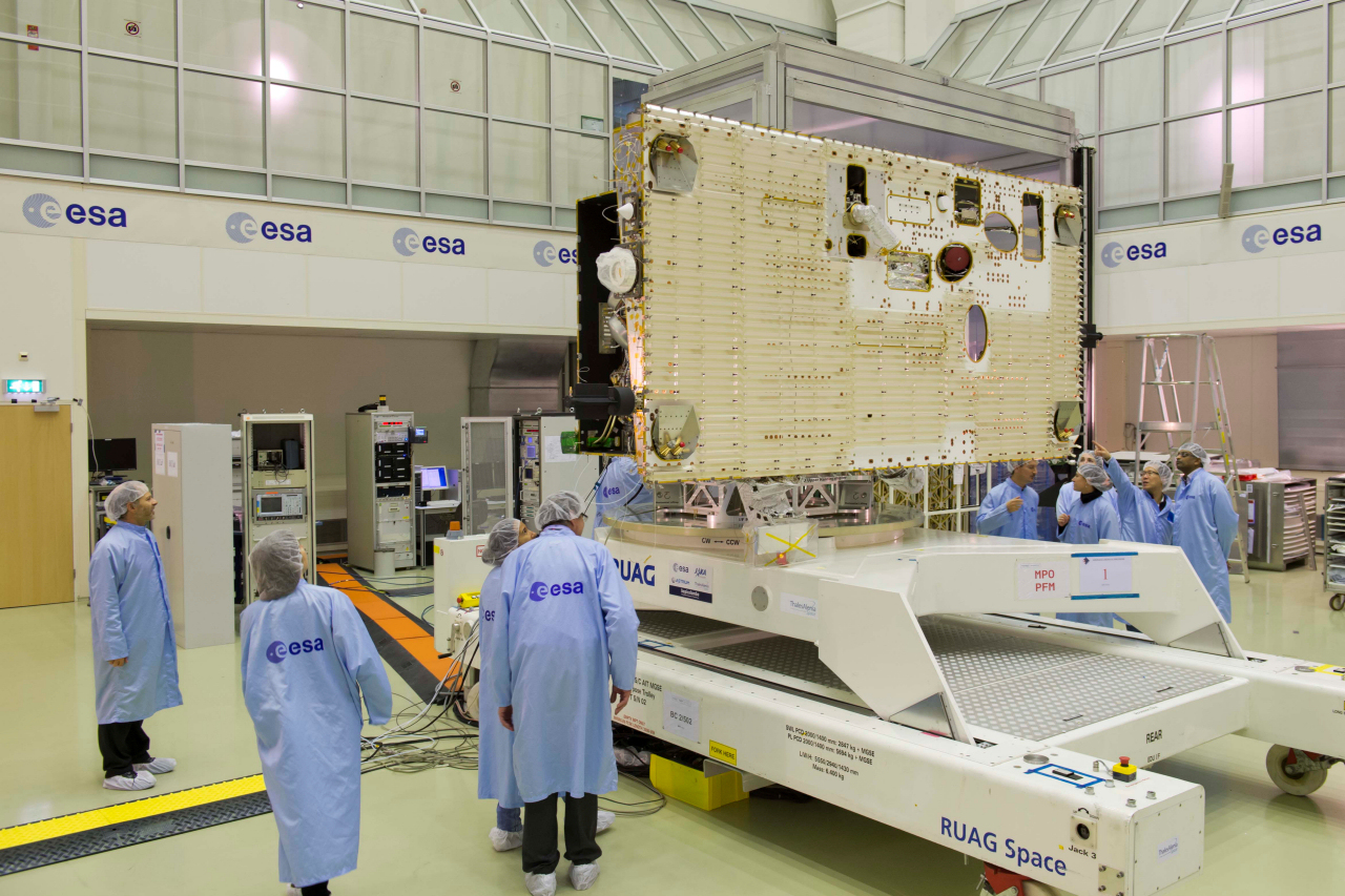 BepiColombo's Mercury Planetary Orbiter is seen inside a clean room at ESA's test center in Noordwijk, the Netherlands. Credit: ESA – A. Le Floc'h