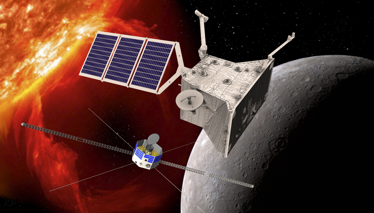 Artist's concept of the BepiColombo mission, showing the European-built Mercury Planetary Orbiter (top) and the Japanese Mercury Magnetospheric Orbiter (bottom). Credit: ESA