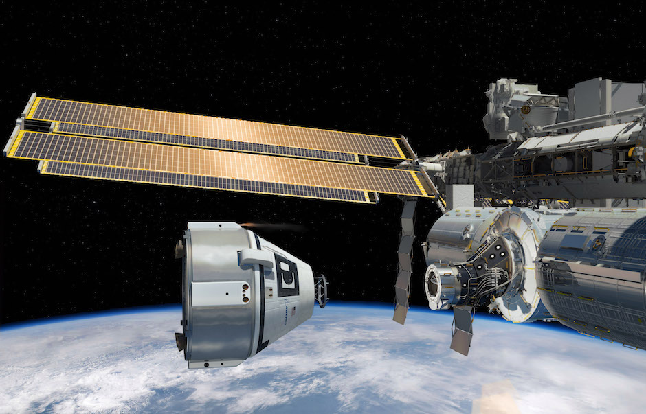 Artist's concept of Boeing's CST-100 crew capsule approaching the International Space Station. Credit: Boeing