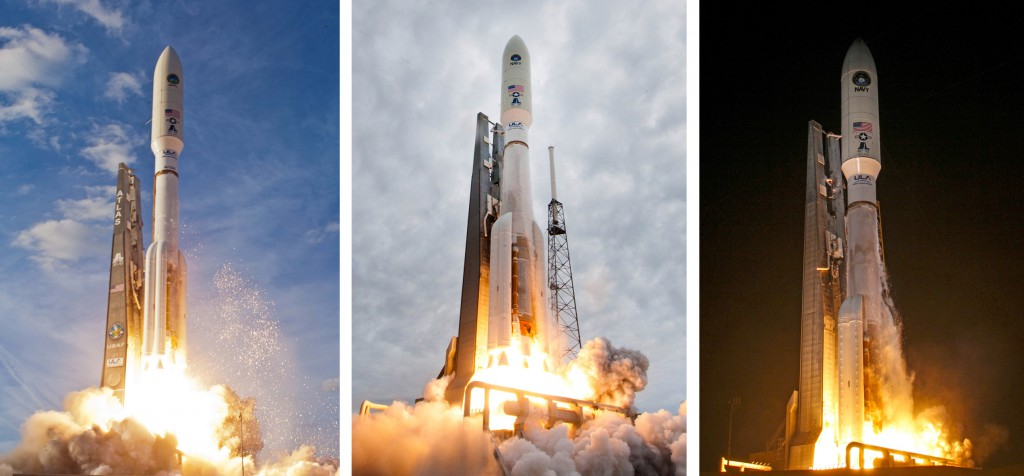 The first three MUOS launches. Photos by ULA