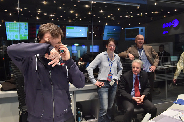 The Rosetta team celebrates Philae's landing on Nov. 12, 2014. Credit: ESA/J. Mai