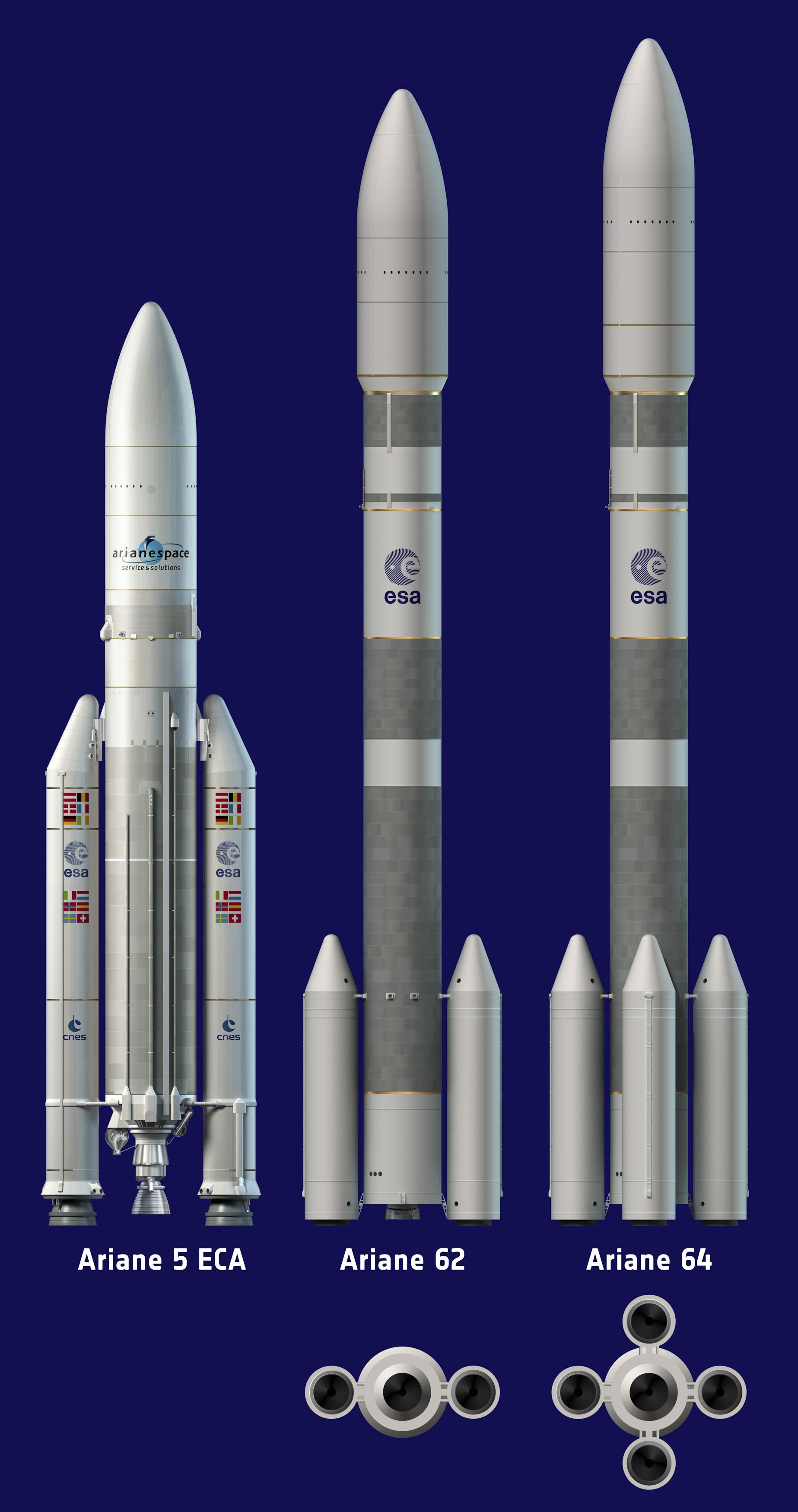 A comparison of the Ariane 5, Ariane 62 and Ariane 64 rockets. Credit: ESA–D. Ducros, 2014