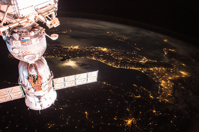 The Soyuz TMA-15M spacecraft is pictured docked to the space station. The capsule is set for landing Thursday with outgoing commander Terry Virts, flight engineer Samantha Cristoforetti and Russian pilot Anton Shkaplerov. Credit: NASA