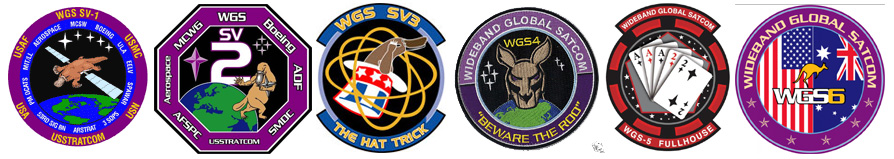 Past WGS mission patches. Credit: Justin Ray/Spaceflight Now