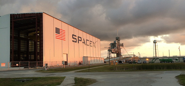 Construction of a hangar at Kennedy Space Center's launch pad 39A, which SpaceX is leasing from NASA, began early this year. Credit: SpaceX