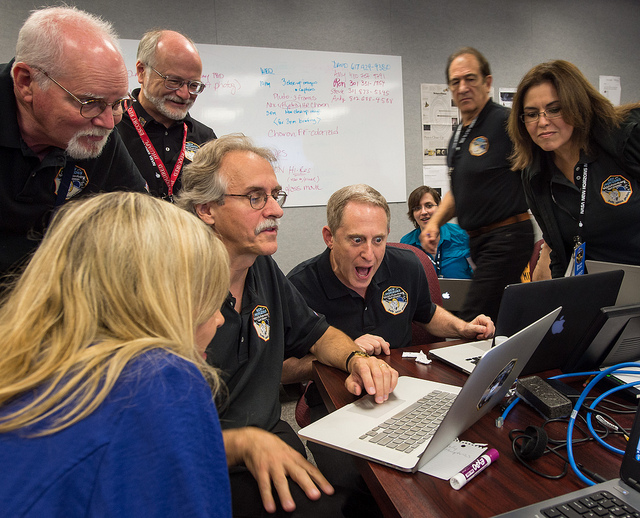 New Horizons principal investigator Alan Stern reacts to fresh imagery of Pluto downlinked Wednesday. Credit: NASA/Bill Ingalls
