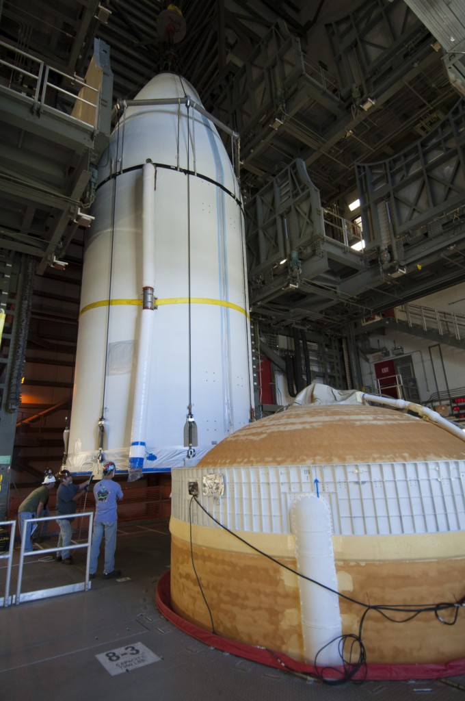 File photo of WGS satellite being mated to Delta 4. Credit: ULA