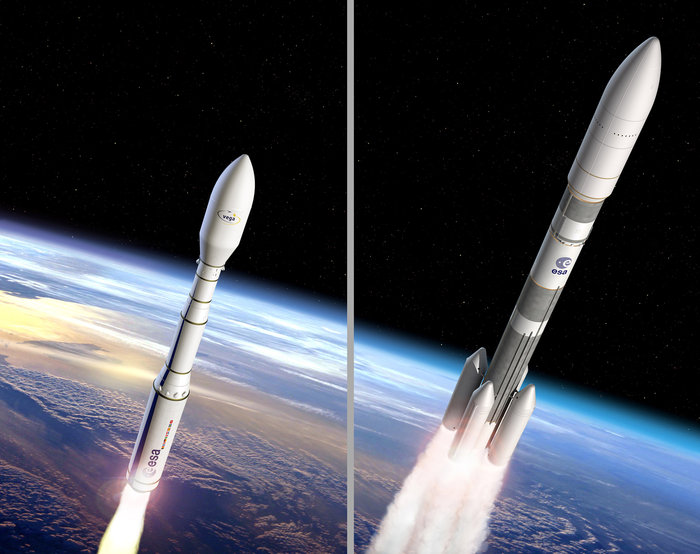 Artist's concepts of the Vega C (left) and Ariane 6 (right) rockets. Credit: ESA–J. Huart and D. Ducros, 2015