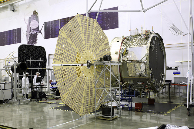 Upgrades scheduled to debut on the next Cygnus cargo flight in December include new circular Ultraflex solar arrays, seen here in deployment tests at Orbital ATK's facility in Dulles, Virginia. Credit: Orbital ATK
